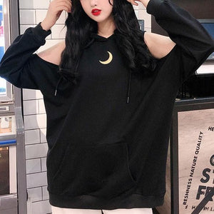 Grey/Black Loose Moon Off-Shoulder Hoodie Jumper SP14186