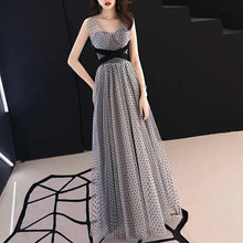 Load image into Gallery viewer, Grey/Black Spot Swing Maxi Dress SP13957