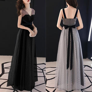 Grey/Black Spot Swing Maxi Dress SP13957