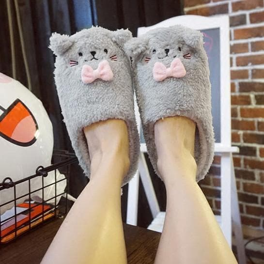 Grey/Pink/Brown Kawaii Animals Fluffy Slippers SP1710932