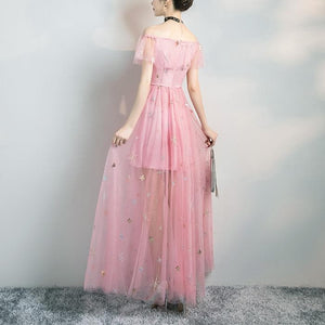 Grey/Pink Sweet Enbroidery Paillette Long Dress SP13622