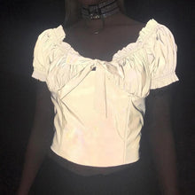 Load image into Gallery viewer, Grey Drape Bow Reflective Short Sleeve Top SP13705