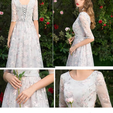 Load image into Gallery viewer, Grey Elegant Flowers Laced Party Dress SP13626