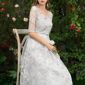 Grey Elegant Flowers Laced Party Dress SP13626