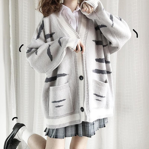 Grey Kawaii Cat Knitting Cardigan SP14373
