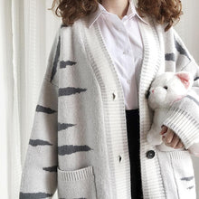 Load image into Gallery viewer, Grey Kawaii Cat Knitting Cardigan SP14373