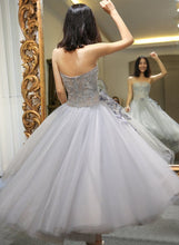 Load image into Gallery viewer, Grey Sweet Flower Tulle Party Dress SP14433
