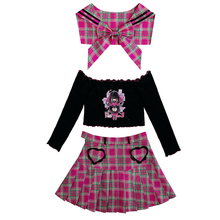 Load image into Gallery viewer, Lolita Kawaii Plaid High Waist Pleated Sailor JK Uniform Suits SE0639