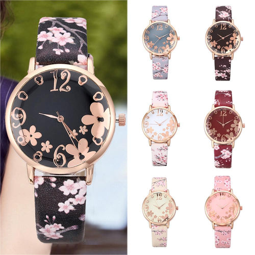 Embossed Flowers Printed Belt Dial Watch SS0158