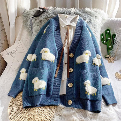 Fashion Sheep Motifs Cardigans V-neck Coat SP15406