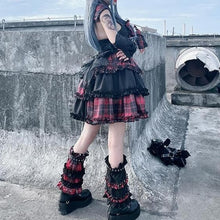 Load image into Gallery viewer, Black Pink Plaid Pleated Skirt Sweet Lolita Cake Mini Skirts Suit SP193