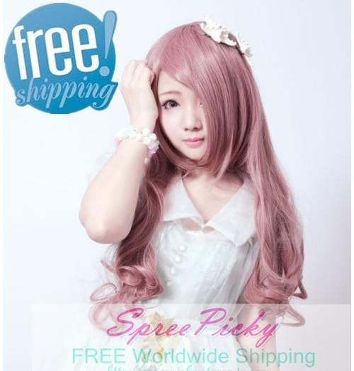HARAJUKU Lolita pink young girl long curly wig SP130185 - SpreePicky  - 1