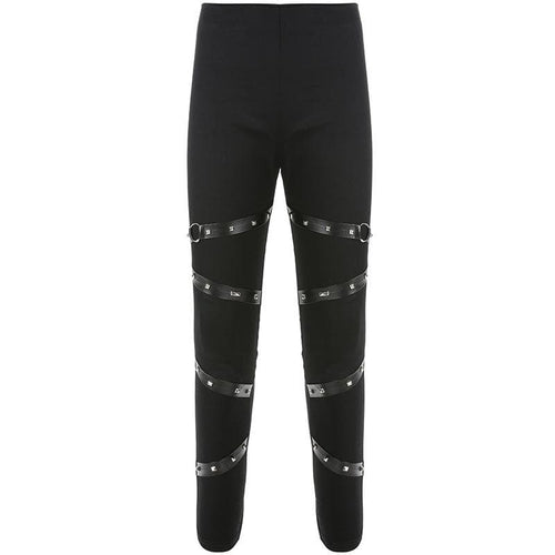 Goth Dark PU Strap Pencil Pants SP14846