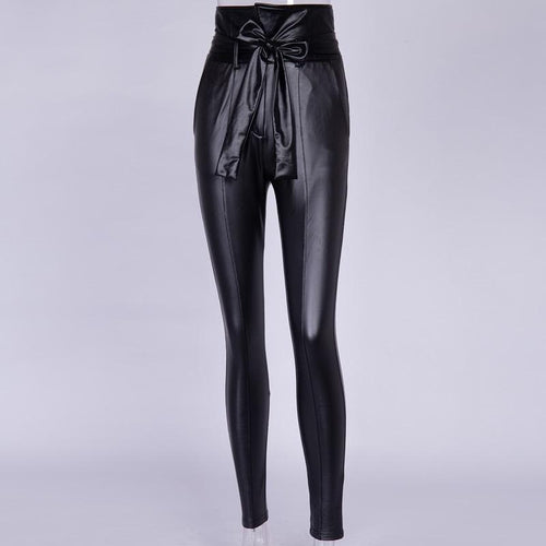Gold/Black Belt High Waist Faux Leather PU Pencil Pants SS0225