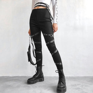 Goth Dark PU Strap Pencil Pants SS0224