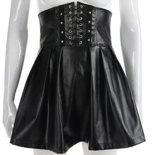 Load image into Gallery viewer, Gothic Bandage Faux Leather Black Mini Pleated Skirt SP14675 - SpreePicky FreeShipping