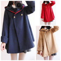 Red/Khaki/Navy Loose Woolen Hoodie Poncho Coat SP1711014