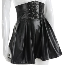 Load image into Gallery viewer, Gothic Bandage Faux Leather Black Mini Pleated Skirt SP14675