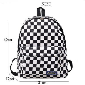 Black And White Plaid Nylon Travel Daypack Laptop Backpack SS0203