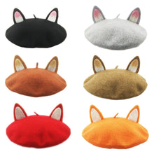 Load image into Gallery viewer, Hand Made Custom Australian Woolen Kitty Cat Ear Beret Hat SP165247