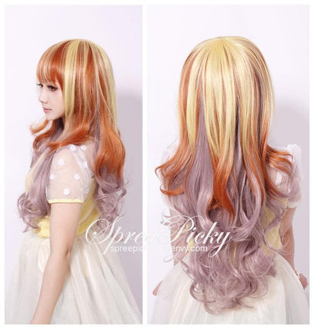 Harajuku Girly Honey Color Curly Wig SP130259 - SpreePicky  - 1