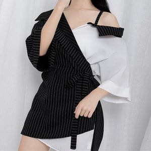 Harajuku Off-Shoulder Stripes Shirt S12781
