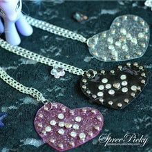 Load image into Gallery viewer, Harajuku Punk Original Design Handmade Transparent Glitter Heart Necklace SP130325 - SpreePicky  - 1