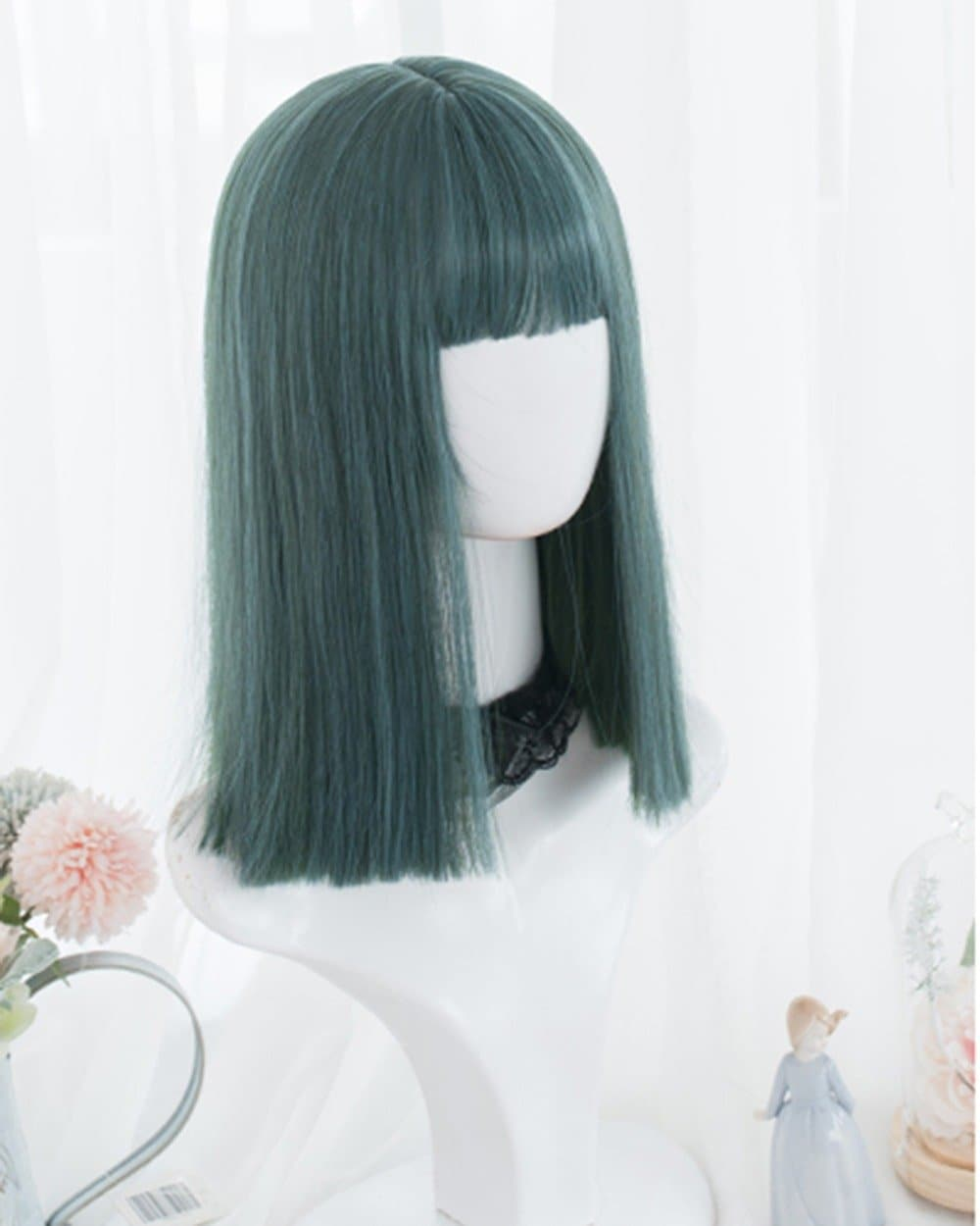 Green/Blue Natural Straight Lolita Cosplay Wig SP15078