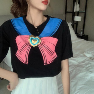 Sailor Moon Love Heart Sequins Sweet Bowknot T-Shirts SP15037