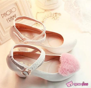 Lolita Hearts Embroidered White Heels with Sweet Pink Fur Platform Shoes SP151691 - SpreePicky  - 2