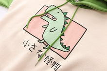 Load image into Gallery viewer, Green Dinosaur With Horns Hoodie Pullover SP14702