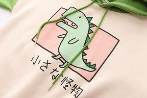 Green Dinosaur With Horns Hoodie Pullover SP14702