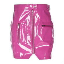 Load image into Gallery viewer, Hot Pink Reflective PU Zipper Skirt SP13997