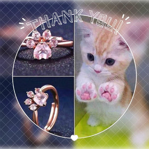 Sterling Silver Rose Gold Cat Paw Ring - SpreePicky FreeShipping