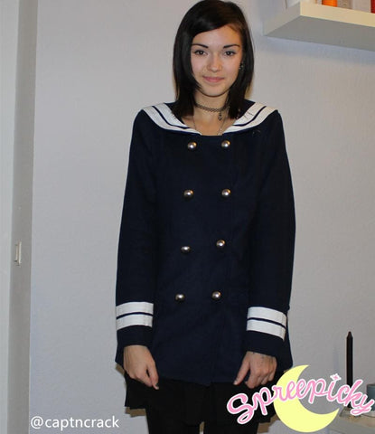 Korean Sailor High Quality Woolen Coat Double Brest SP130220 - SpreePicky  - 5