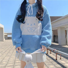 Load image into Gallery viewer, Blue/Khaki Kawaii Bear Hoodie Sweater SP15296
