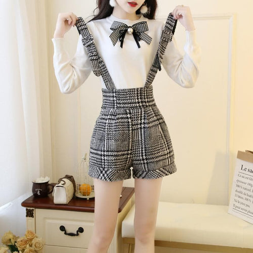 Kawaii Bow Knitted Sweater Suspender Shorts Set SP13453