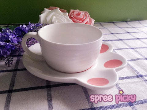 Kawaii Cat Ceramic Teacup With Cat Paw Dish Set SP167639