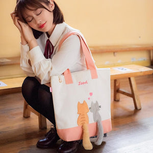 Kawaii Cat Lovers Canvas Shoulder Bag SP14375