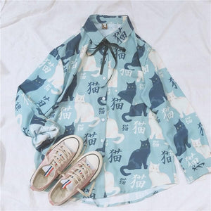 Kawaii Cat Printing Blouse SP13683