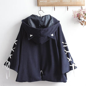 Kawaii Devil Ears Woolen Hoodie Coat SP14380