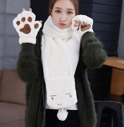 Kawaii Emoji Fluffy Scarf/Gloves SP1710886
