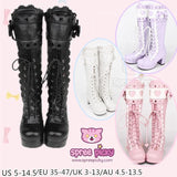 [Free Express Shipping] 4 Colors Kawaii Lace Bowknot Lolita Long Boots SP164976