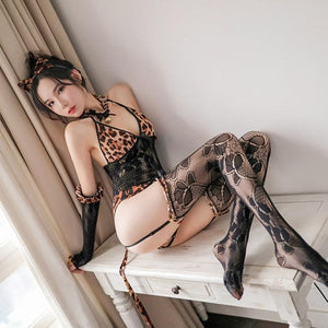 Kawaii Leopard Lace Lingerie Set SP14128