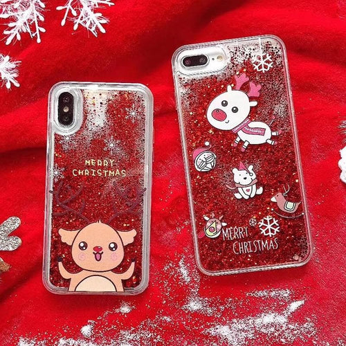 Kawaii Paillette Xmas Deer Phone Case SP13233