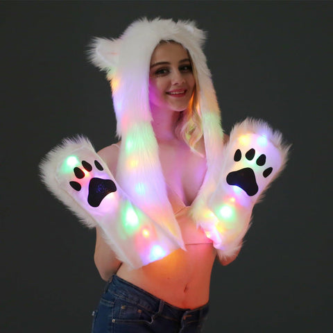 Kawaii Paw LED Hat Scarf S12823