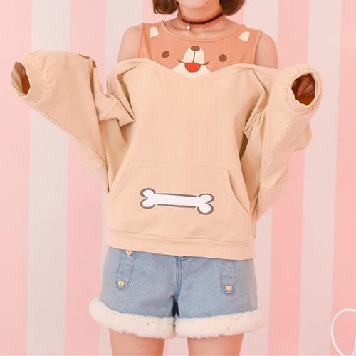 Final Stock! Kawaii Shiba Inu Off-Shoulder Jumper SP1710778