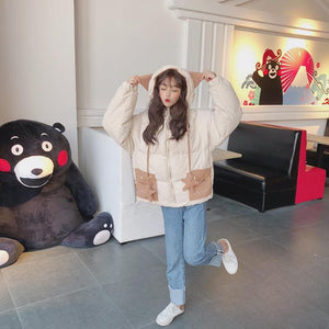 Kawaii Star Face Pockets Hoodie Coat SP13447