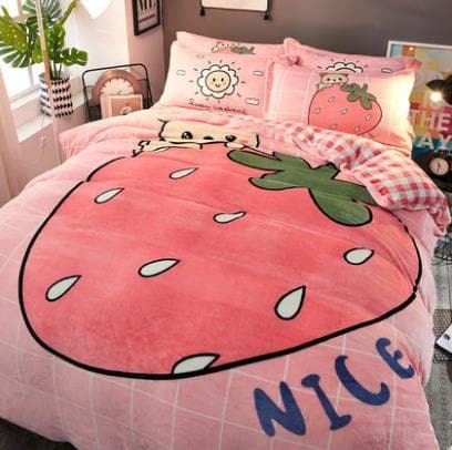 Kawaii Strawberry Coral Velvet Bedding Sheet SP13276