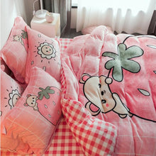 Load image into Gallery viewer, Kawaii Strawberry Coral Velvet Bedding Sheet SP13276